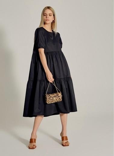 NGSTYLE Büzgülü Midi Poplin Elbise Siyah
